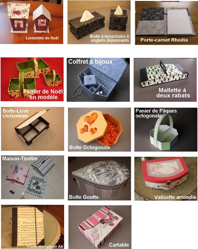Cartonnage, cours à Strasbourg, visuels d'objets en cartonnage à L'Eclat de Verre encadreur à Strasbourg