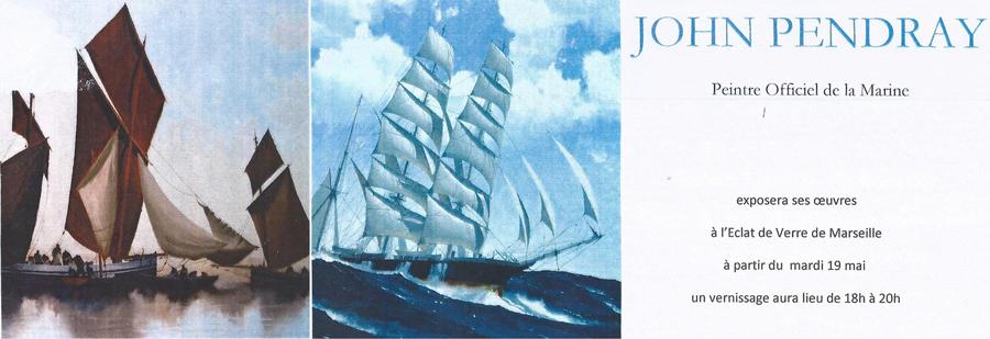 Exposition des peintures de John Pendray à l'Eclat de Verre encadreur de Marseille le 19 mai 2015