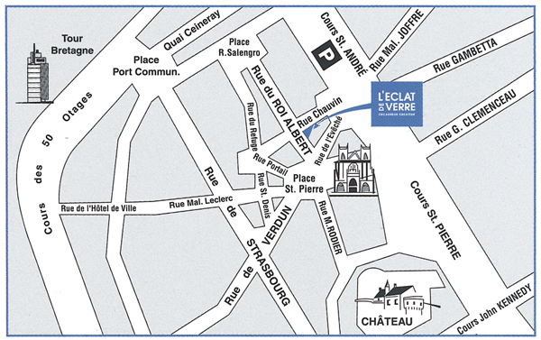 Plan d'accès à L'Eclat de Verre encadreur à Nantes