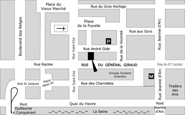 plan de l'eclat de verre encadreur à rouen 76 rue du Général Giraud 76000 Rouen
