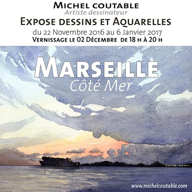 Affiche Exposition Michel coutable à L'Eclat de Verre de Marseille jusqu'au 6 janvier 2017