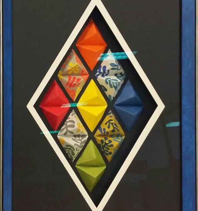 Tuto cadre diamant origami – Variation bleue