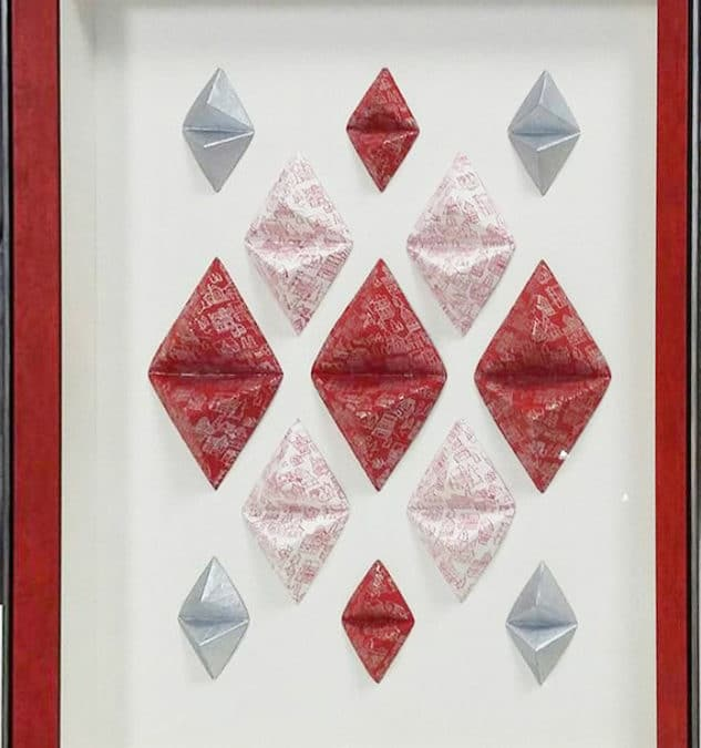 Tuto cadre diamant origami – Variation rouge et blanc