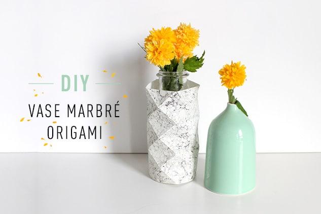 DIY Vase marbré origami